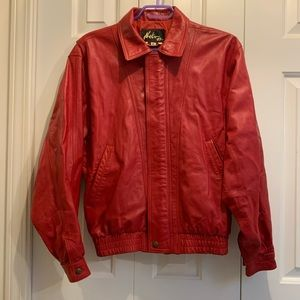 Red 80s style vintage leather jacket